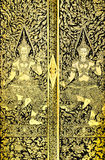 Ancient Thai pattern on door Royalty Free Stock Photography