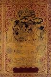 Ancient Thai pattern on wall in Thailand Buddha Temple , Asian Buddha style art, Beautiful pattern on temple wall Stock Photo
