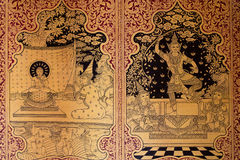 Ancient Thai pattern on wall in Thailand Buddha Temple , Asian Buddha style art, Beautiful pattern on temple wall Stock Image