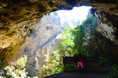 Ancient Thai pavilion in the cave Stock Image