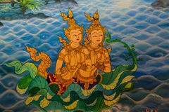 Ancient Thai-style murals in the thai temple. Royalty Free Stock Images