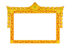 Ancient Thai Style Sculpture Frame Stock Photo
