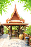 Ancient Thai style wooden gazebo Royalty Free Stock Photography