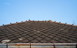 Ancient Thai Style Wooden Roof Stock Photo