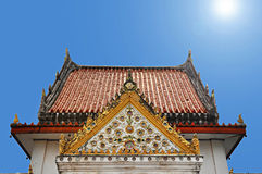 Ancient Thai temple. Gable end and roof of ancient Thai temple Stock Photo