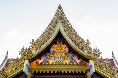 Ancient Thai temple,Thai classic arts Gable. Royalty Free Stock Image