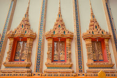 Ancient Thai temple. Wat Kosit Wihan golden Temple Phuket, Thailand. Decor windows architecture wall. Royalty Free Stock Images