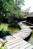Ancient Thai Village. Established on a water Stock Photo