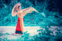 Ancient Thai Woman In Traditional Costume Of Thailand stock photography