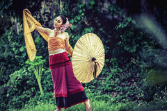 Ancient Thai Woman In Traditional Costume Of Thailand Royalty Free Stock Photos