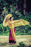 Ancient Thai Woman In Traditional Costume Of Thailand Royalty Free Stock Image