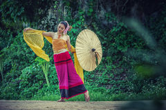 Ancient Thai Woman In Traditional Costume Of Thailand Royalty Free Stock Images