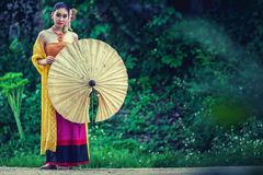 Ancient Thai Woman In Traditional Costume Of Thailand royalty free stock photography