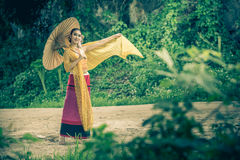Ancient Thai Woman In Traditional Costume Of Thailand royalty free stock photo
