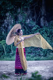 Ancient Thai Woman In Traditional Costume Of Thailand Stock Image