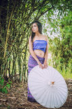 Ancient Thai Woman In Traditional Costume Of Thailand Stock Photos
