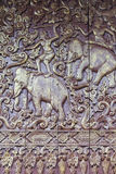Ancient Thai wood carved with elephant Royalty Free Stock Photography