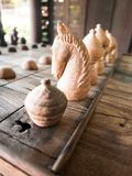 Ancient Thai wooden chess, Game Chess royalty free stock photography