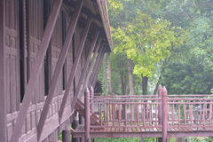 The ancient Thai wooden house. At quiet and peaceful Royalty Free Stock Photography