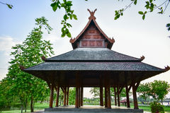 Ancient Thai wooden pavilion style in the park Stock Image