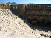 Ancient theater in Aspendos, Turkey. Ruins of the ancient theater in Aspendos, Turkey Stock Photos