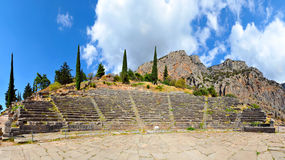 Ancient theater, Delphi, Greece, 180 degrees photo Royalty Free Stock Photo