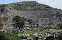 Ancient Theater In Ephesus. View of ancient theater in Ephesus in Turkey Stock Photos