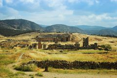 Ancient theater in Hierapolis, front of view, Turkey,Pamukkale Stock Image
