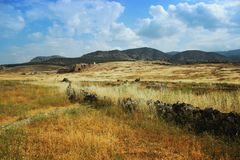 Ancient theater in Hierapolis, front of view, Turkey,Pamukkale Stock Photography