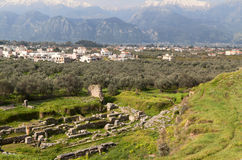 Ancient theater and the modern city of Sparta Stock Images