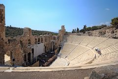 Ancient theater near Acropolis of Athens, Greece Royalty Free Stock Photos