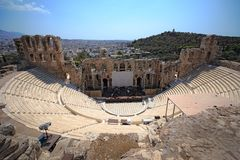 Ancient theater Odeon of Herodes Atticus near Acropolis of Athens Royalty Free Stock Photography