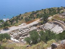 Ancient theater on the sea of the island of Milos in Greece stock photo
