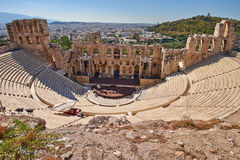 Ancient theater under Acropolis of Athens Stock Image