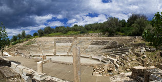 Ancient theatre. Panoramic view of a greek ancient theatre Royalty Free Stock Images