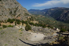 The ancient theatre, Delphi, Greece. The ancient theatre at Delphi was originally built in the 4th century BCE but was remodeled on several occasions since. Its Stock Image