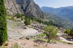 Ancient Delphi theater and Apollo temple, Greece Stock Photo