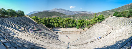 Ancient Theatre of Epidaurus, Greece. The Great Theatre of Epidaurus. Among all the ancient theatres, Epidaurus theatre is the most beautiful and best preserved Royalty Free Stock Photo