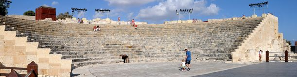 Ancient theatre in Kourion - panorama Royalty Free Stock Photography