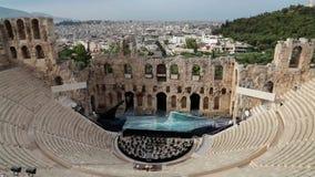 Ancient theatre near a Parthenon temple, Athenian Acropolis, Greece stock video footage