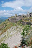 Ancient theatre in pergamon ruins. Pergamon or Pergamum was an ancient Greek city in modern-day Turkey, in Mysia, north-western Anatolia, 16 miles from the Royalty Free Stock Photography