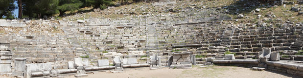 Ancient theatre with rows of stone seats, Stock Images