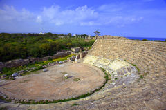 Ancient theatre in Salamis. Roman theatre at the archeaologicl site in Salamis Royalty Free Stock Photo