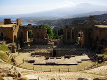 Theatre of Taormina with mount on Etna. Roman archaeological site in Sicily south of Italy. royalty free stock images