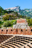 The Ancient theatre of Taormina. Castelmola, Italy Royalty Free Stock Images