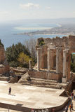 The Ancient theatre of Taormina. Landscape Royalty Free Stock Photography