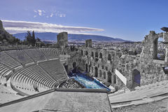 Ancient theatre under Acropolis of Athens, Greece Royalty Free Stock Images