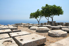 Ancient Thera on Santorini Stock Photos