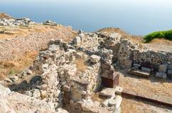 Ancient Thera on Santorini. Stock Photo