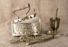 Ancient things on burlap background Royalty Free Stock Photos